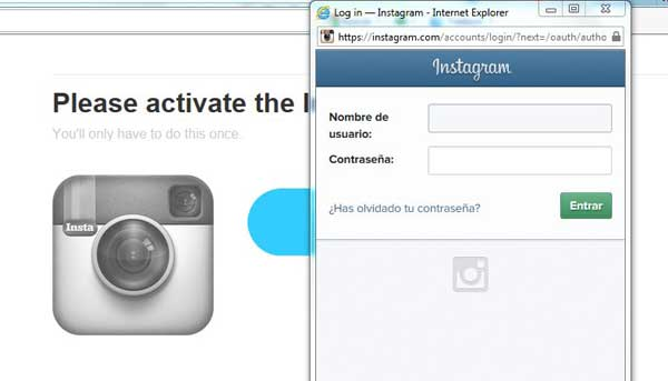 receta IFTTT, activar canal Instagram, login
