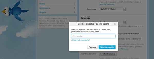Twitter guardar cambios de la configuración