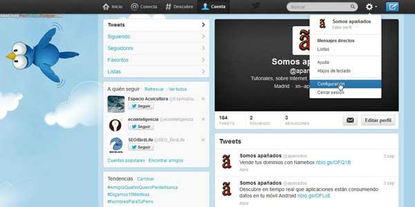 Twitter acceso a la configuración