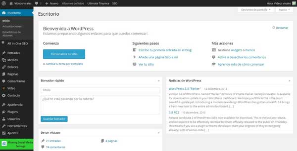 WordPress 3.8 - escritorio