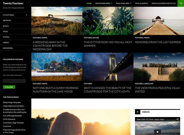 tema de WordPress vigésimo catorce (Twenty Fourteen)