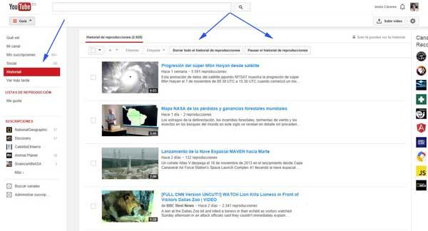 eliminar o pausar el historial de reproducciones de Youtube