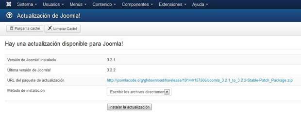 actualización a Joomla 3.2.2 inicio
