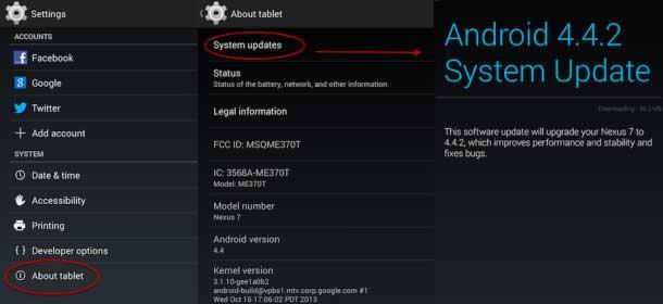 actualizaciones de software de Android