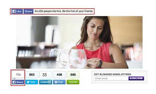 botones de Facebook y otras redes sociales