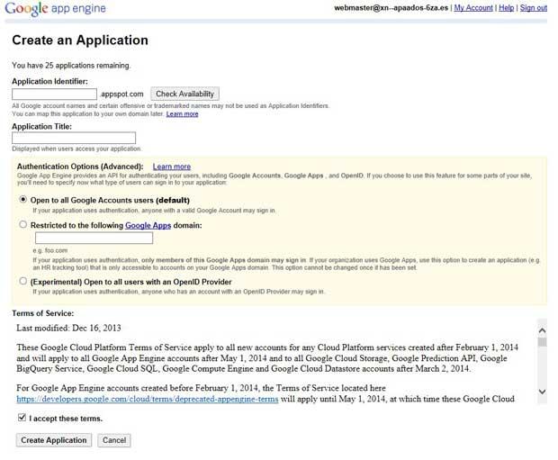 Google App Engine, crear aplicación rellenar datos
