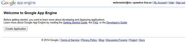 Google App Engine, crear aplicación