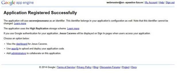 Google App Engine, crear aplicación éxito
