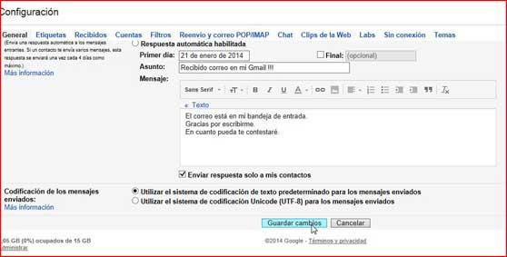 guardar cambios en la configuración de Gmail