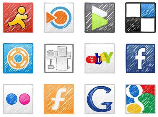 iconos redes sociales a mano