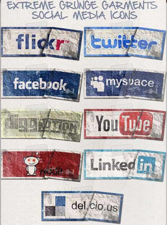 iconos sociales grunge