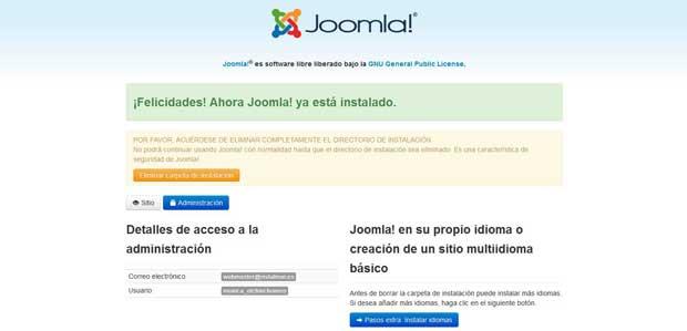 instalación Joomla, instalar idiomas adicionales