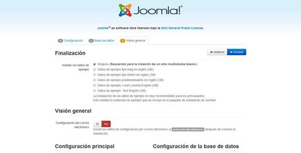 instalación Joomla - visión general