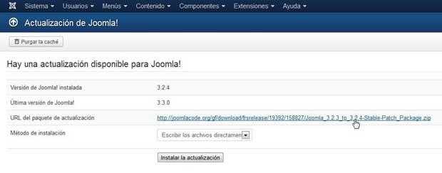 Actualización a Joomla 3.3 errónea