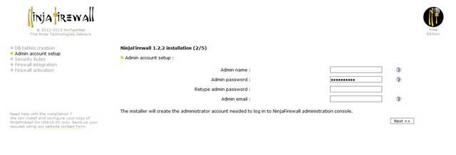Ninja Firewall datos admin
