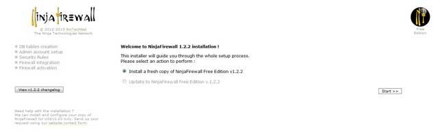 Ninja Firewall inicio de instalación