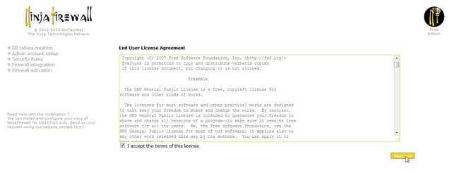 Ninja Firewall licencia