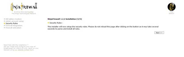 Ninja Firewall reglas de seguridad