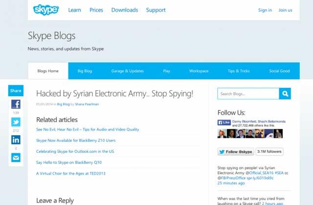 el blog de Skype hackeado por el SEA