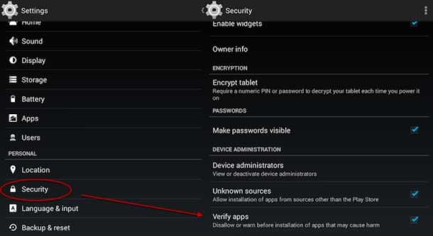 verificación de aplicaciones Android