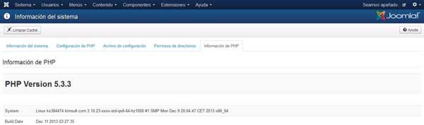 versión PHP en la administración de Joomla