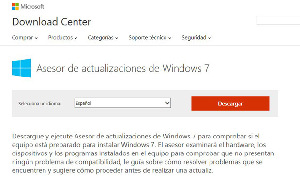 Asesor de actualizaciones de Windows 7