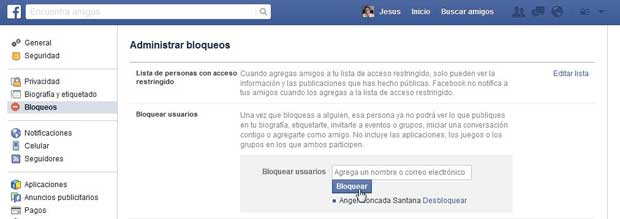 Restringir usuario en Facebook, Bloquear