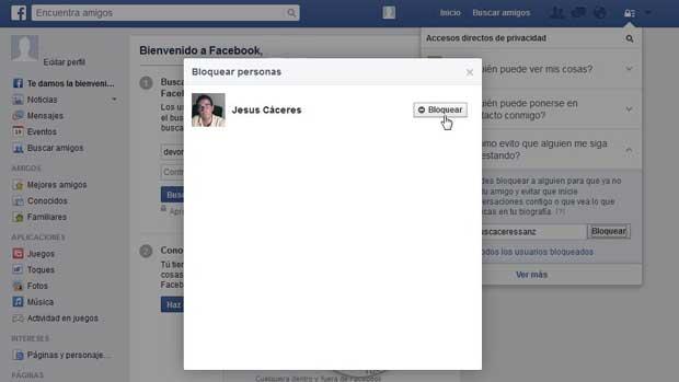 Facebook bloqueo usuario Jesús