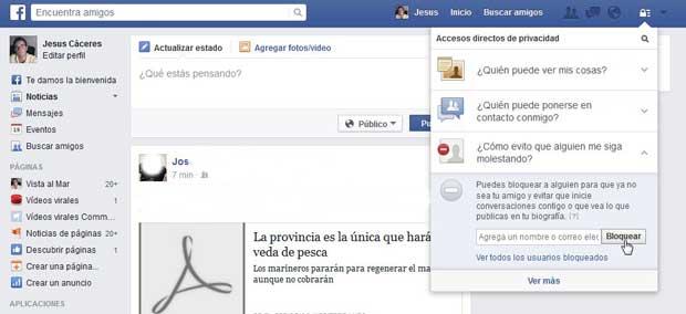 bloquear usuario en Facebook