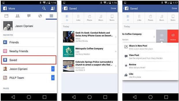 Facebook Save, acciones