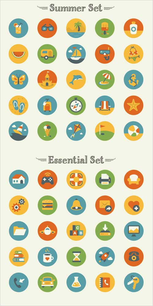 Set de iconos veraniegos e imprescindibles gratis
