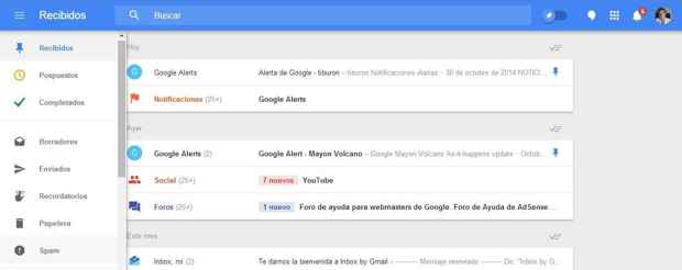 Inbox, borrar y marcar como spam