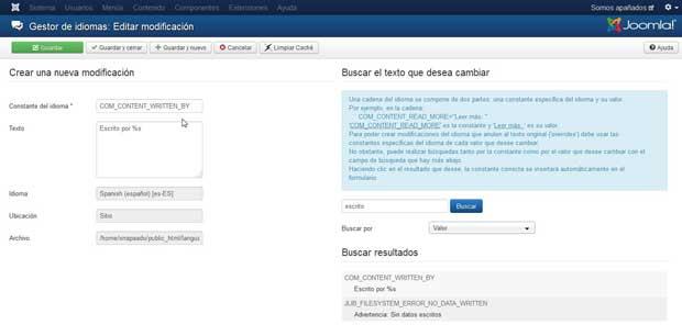 idiomas modificaciones - nuevo - buscar - selección