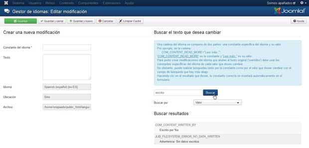 Joomla gestor de idiomas, Modificaciones - nuevo - buscar