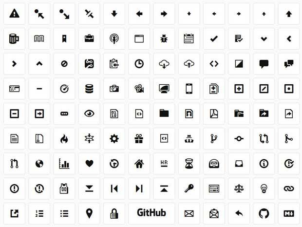 octicons ejemplo de iconos