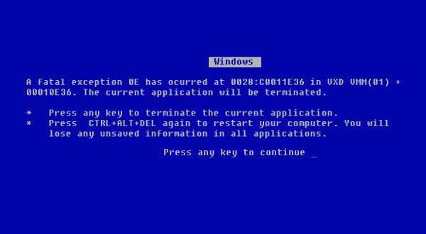 Windows pantalla azul  de la muerte