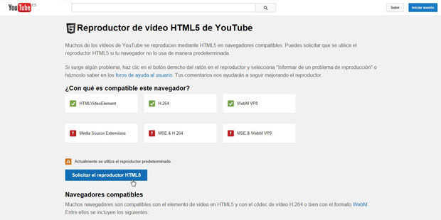 reproductor HTML5 de Youtube