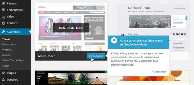 WordPress, personalizador de tema
