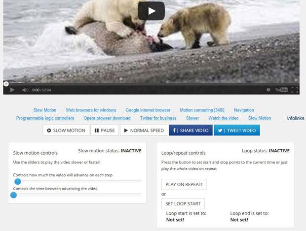 vídeo a cámara lenta en Youtubeslow