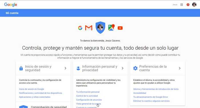 Google, vista general de la cuenta
