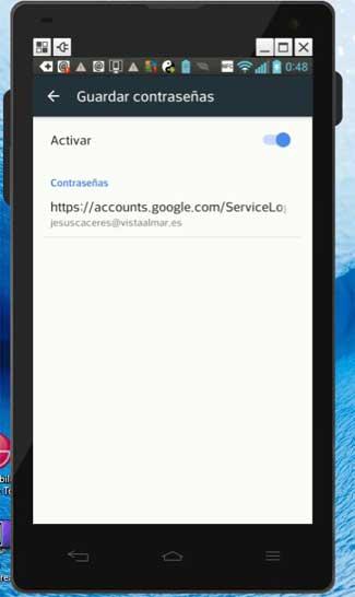activar contraseñas en Chrome para Android