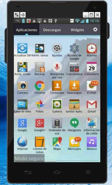 teléfono Android en modo seguro