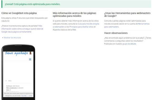 página Somos apañados optimizada para móviles