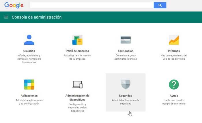 Consola del administrador de Google APPS