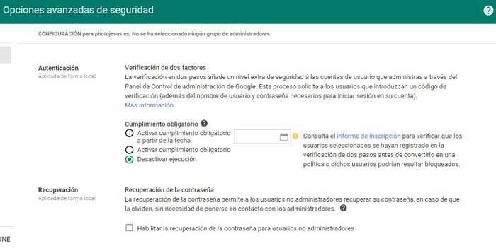 opciones avanzadas Google APPS, habiltar veriicación en dos pasos