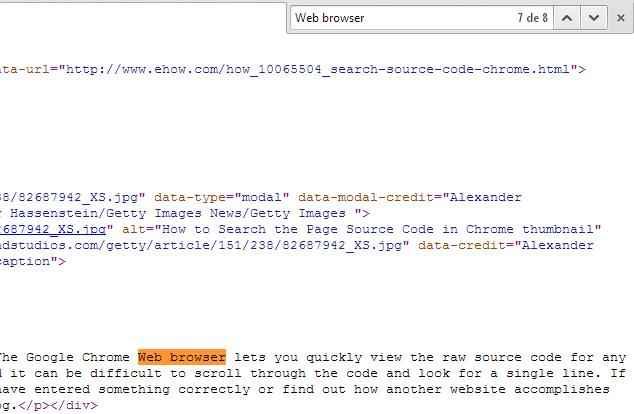 buscar una palabra en el código fuente de Chrome