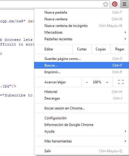 buscar palabra en el código fuente de Chrome