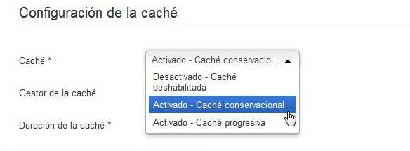 Joomla cache conservacional