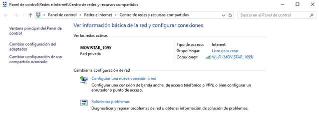 Centro de redes y Recursos compartidos en Windows 10