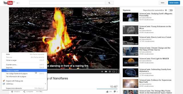 Chrome, traducir a español subtítulos de Youtube en inglés
